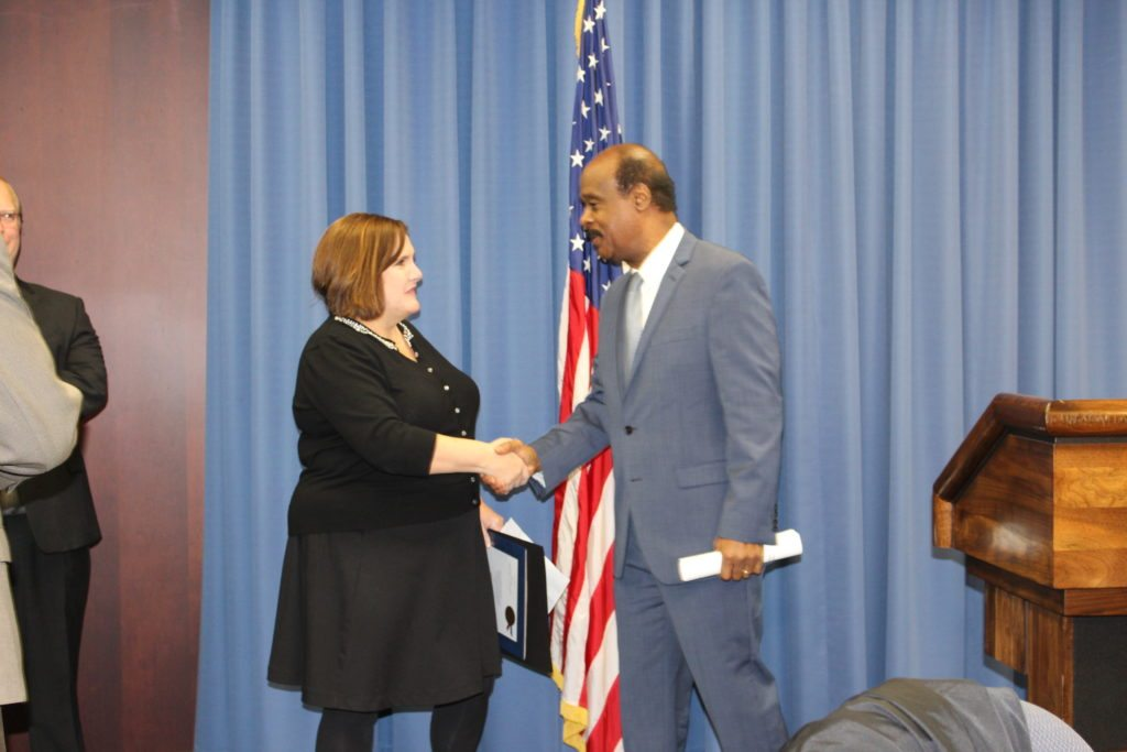 Robin, President of Get Real Health with County Executive Ike Leggett
